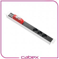 3xDIN49440 Soketli Schuko Grup Priz, 19'' 1U,   PVC gövdeli, 16A on/off aydınlatmalı anahtarlı, 4000 Watt, 250V AC,3x1.5mm2, 2,5m kablolu, DIN 49441 fişli, CE onaylı