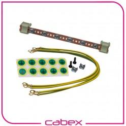19'' rack montaj 1U Topraklama Seti, 10 topraklama noktası, 4 adx4mm çap x 40 cm uzunlukta sarı/yeşil kablolu, herhangi bir U yükseklikte bütün kabinetlerde kullanım, 4lü set M6 montaj elemanı dahildir.