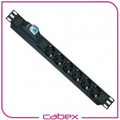 6xDIN49440 Soketli Schuko Grup Priz, 19'' 1U,   PVC gövdeli, 16A on/off aydınlatmalı anahtarlı, 4000 Watt, 250V AC,3x1.5mm2, 2,5m kablolu, DIN 49441 fişli, CE onaylı