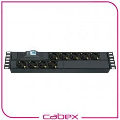9xDIN49440 Soketli Schuko Grup Priz, 19'' 2U, aluminyum profil gövdeli, 1x16A sigorta korumalı, 4000 Watt, 250V AC, 3x1.5mm2, 2,5m kablolu, DIN 49441 fişli, CE onaylı