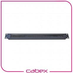 Ager 1/2U 19'' kablo düzenleme paneli patchcord giriş holü, açıklık kenarları fırçalı tip